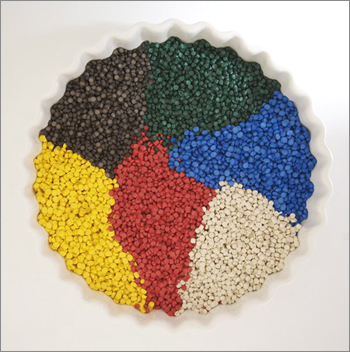 Picture illustrating the large variety of plastic raw materials used by TP Extrusions