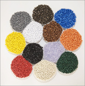 Picture showing granulated pvc raw material, illustrating variety of production colours available